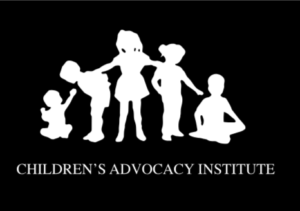 Sillhouette of babies, young and older children supporting each other, logo for the Children's Advocacy Institute (CAI).