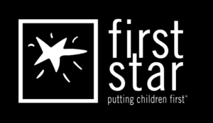 A drawing of a shining star, with the tagline 'putting children first', logo for First Star.
