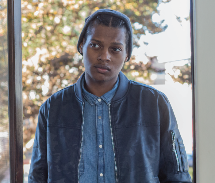 Jamal Randolph (Shane Paul McGhie) looks inquisitive in a still from the drama 'Foster Boy'.